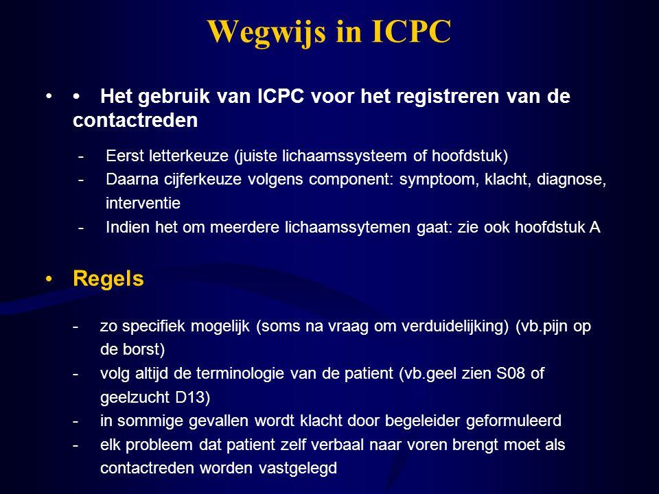 Wegwijs in ICPC • Het gebruik van ICPC voor het registreren van de contactreden. - Eerst letterkeuze (juiste lichaamssysteem of hoofdstuk)