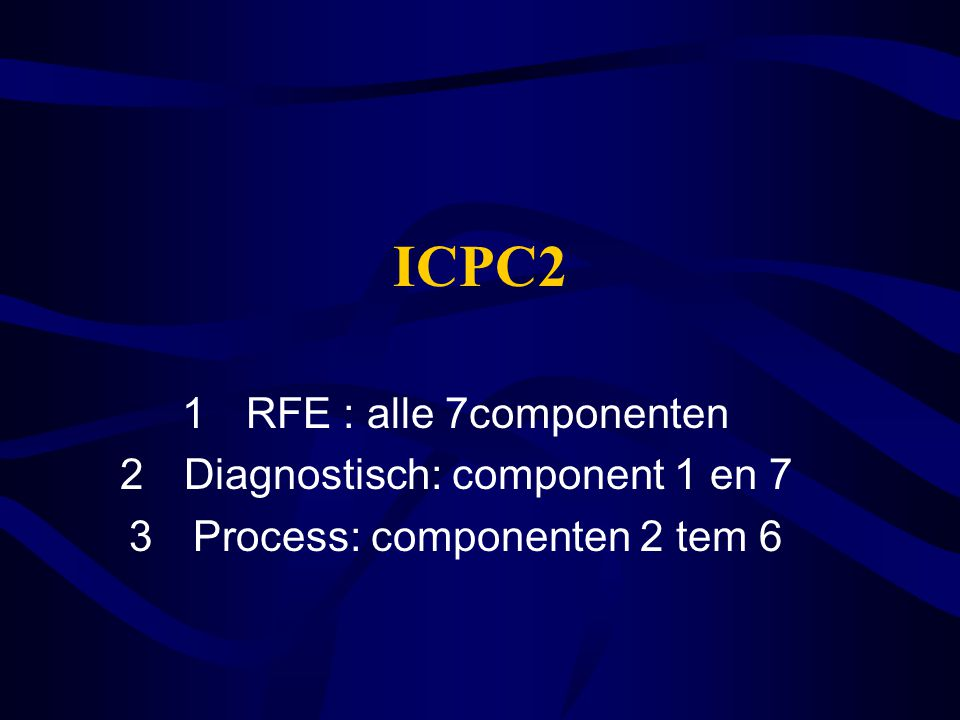 ICPC2 RFE : alle 7componenten Diagnostisch: component 1 en 7