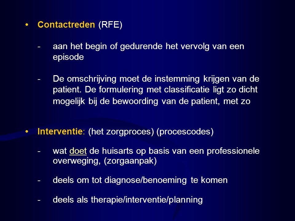 • Contactreden (RFE) - aan het begin of gedurende het vervolg van een episode.