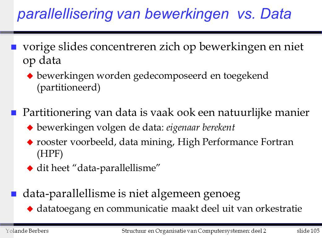 parallellisering van bewerkingen vs. Data