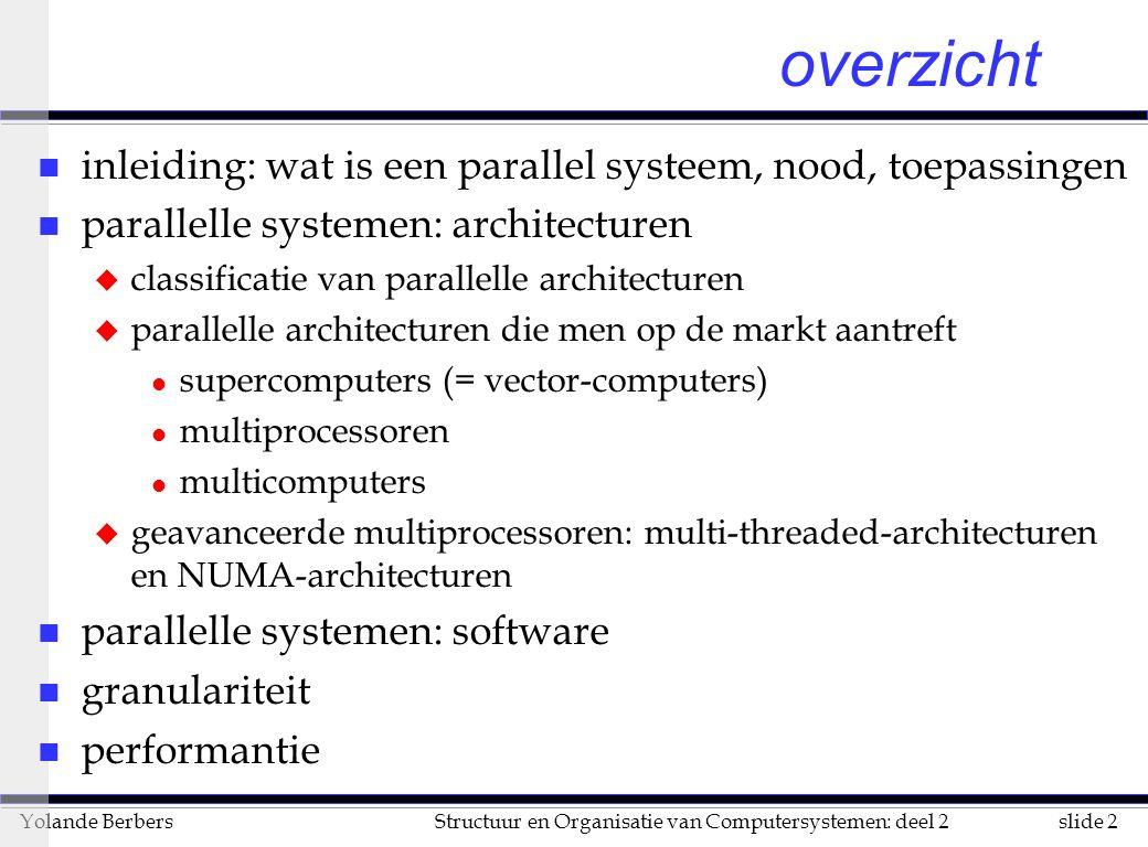 overzicht inleiding: wat is een parallel systeem, nood, toepassingen