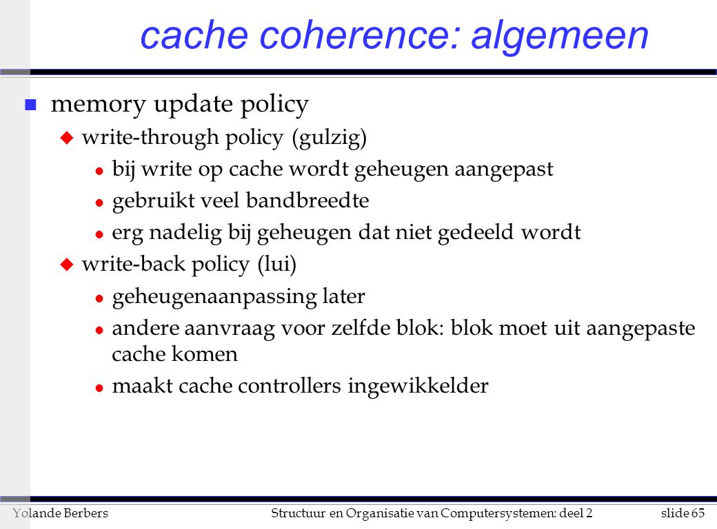 cache coherence: algemeen