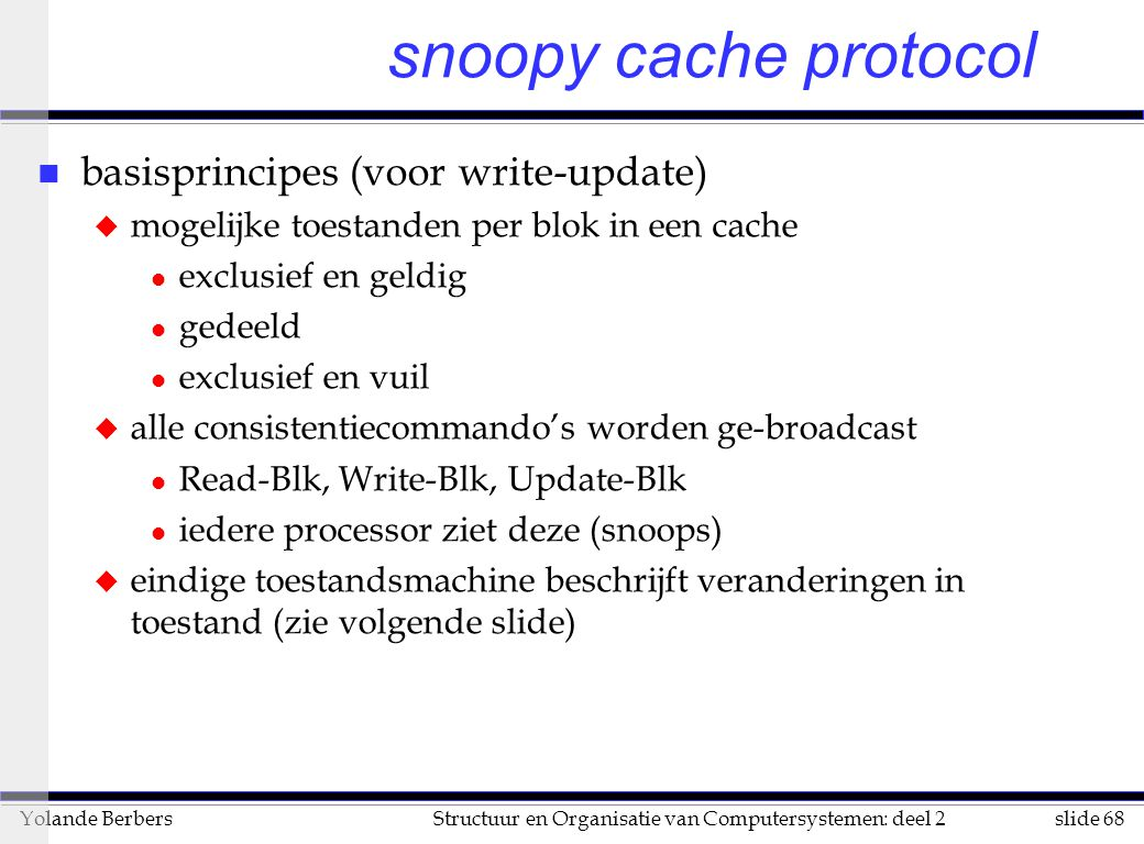 snoopy cache protocol basisprincipes (voor write-update)