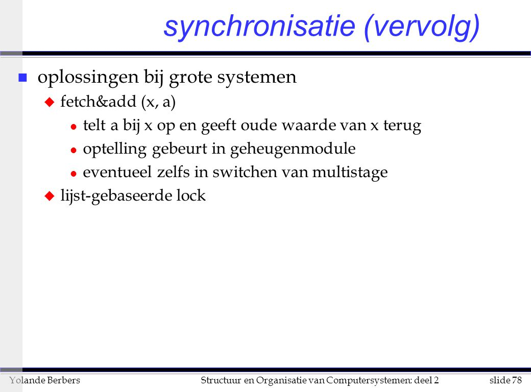 synchronisatie (vervolg)