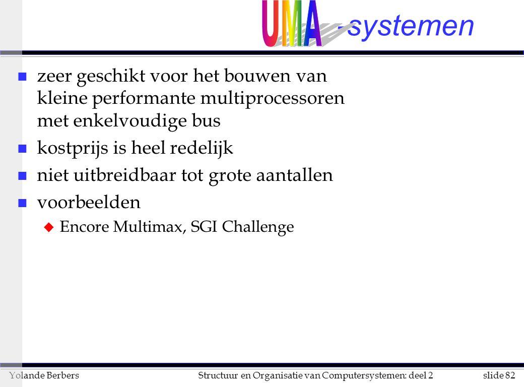 UMA -systemen. zeer geschikt voor het bouwen van kleine performante multiprocessoren met enkelvoudige bus.