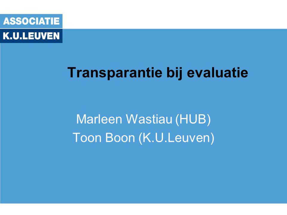 Transparantie bij evaluatie