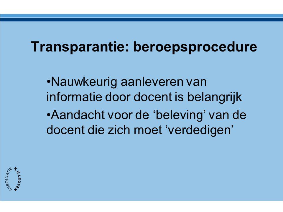Transparantie: beroepsprocedure