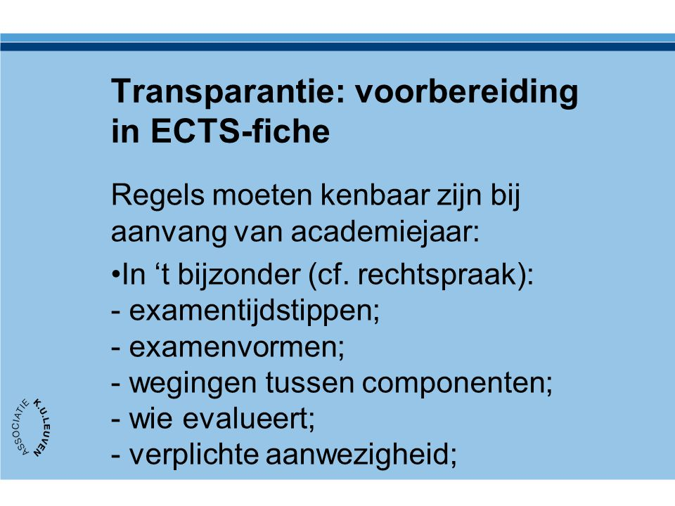 Transparantie: voorbereiding in ECTS-fiche