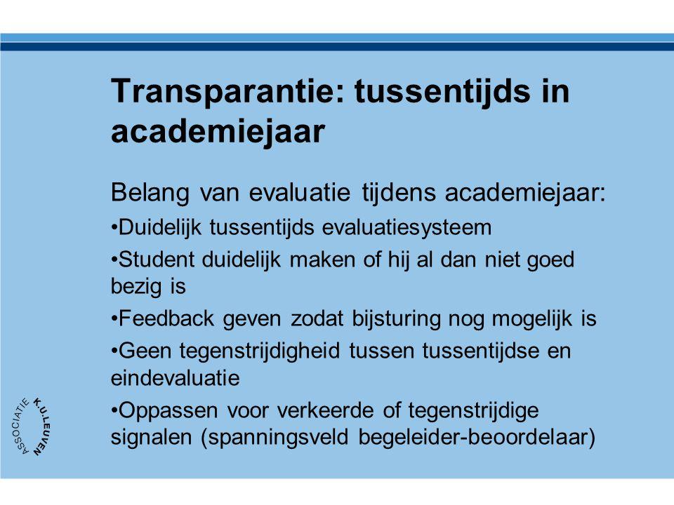Transparantie: tussentijds in academiejaar
