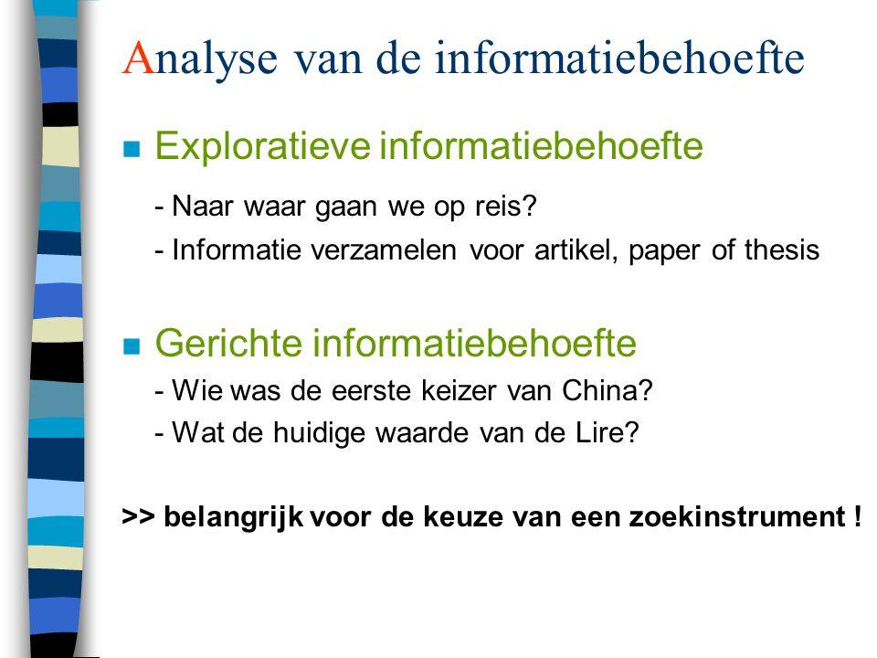 Analyse van de informatiebehoefte