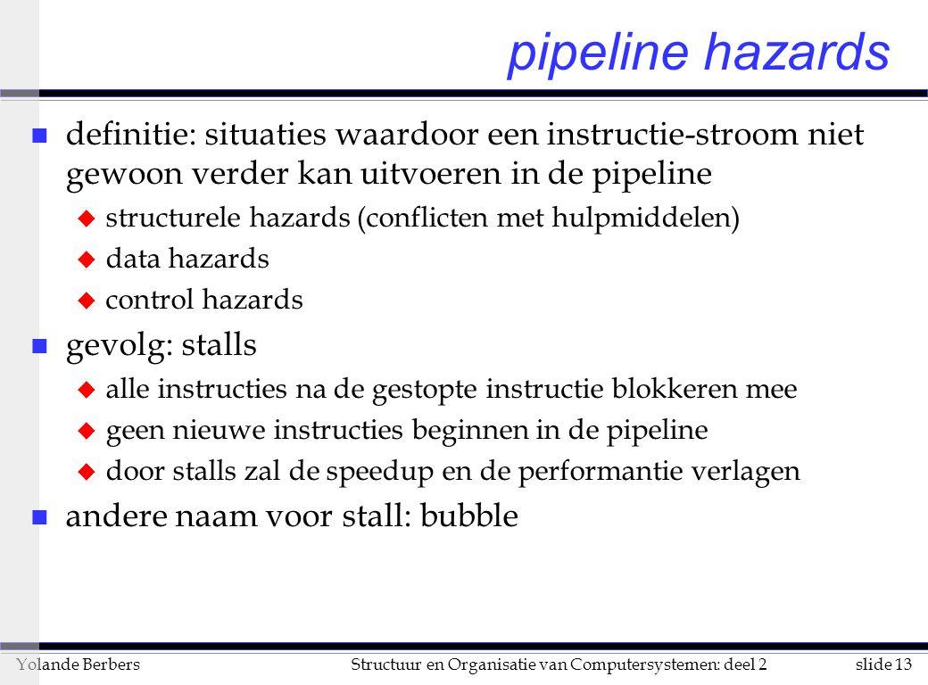 pipeline hazards definitie: situaties waardoor een instructie-stroom niet gewoon verder kan uitvoeren in de pipeline.