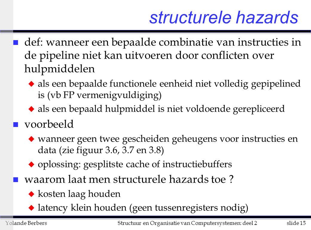 structurele hazards def: wanneer een bepaalde combinatie van instructies in de pipeline niet kan uitvoeren door conflicten over hulpmiddelen.