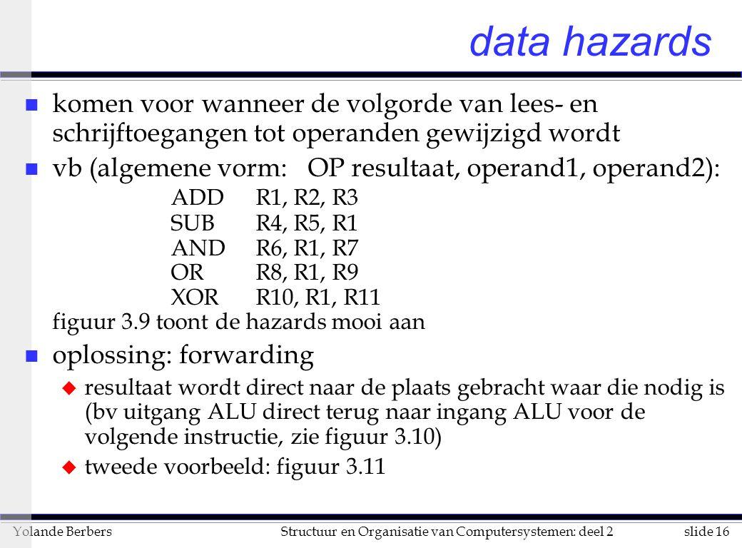 data hazards komen voor wanneer de volgorde van lees- en schrijftoegangen tot operanden gewijzigd wordt.