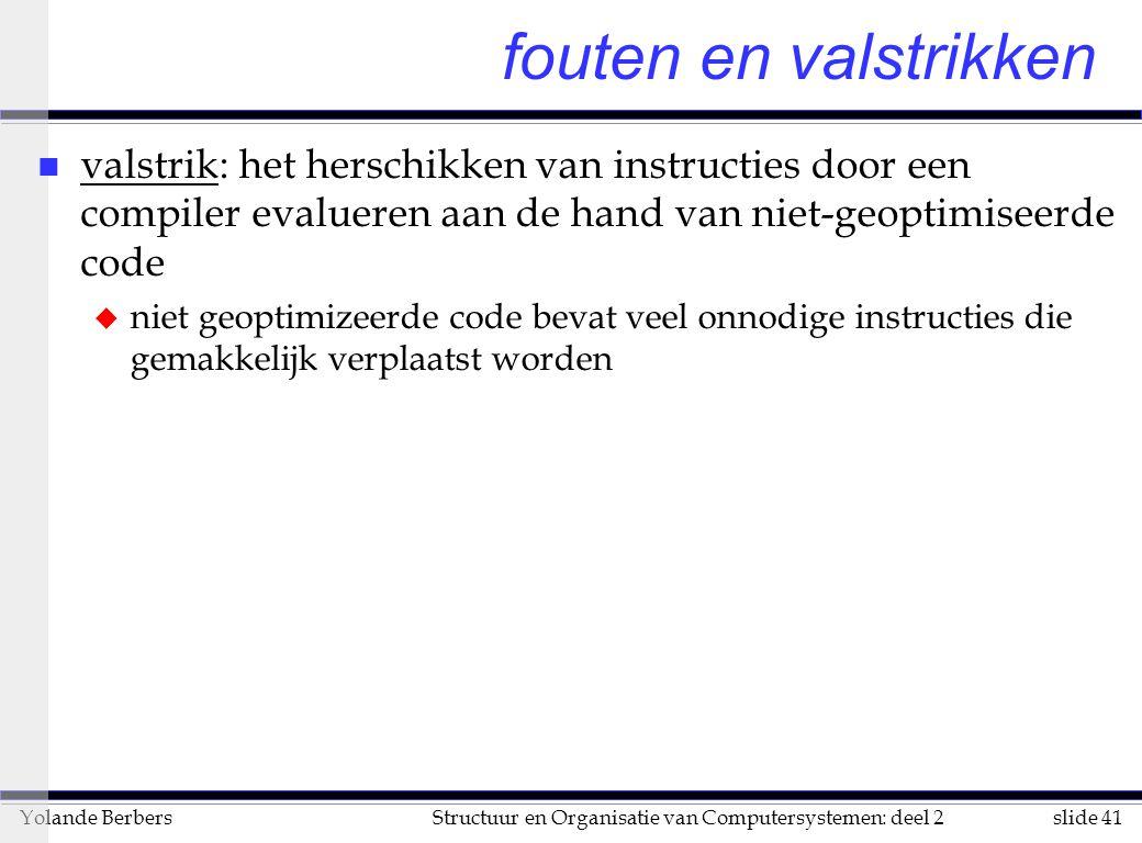 fouten en valstrikken valstrik: het herschikken van instructies door een compiler evalueren aan de hand van niet-geoptimiseerde code.