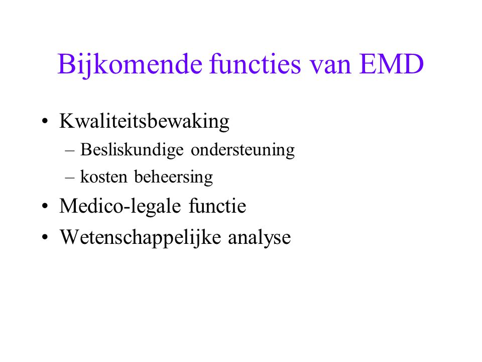 Bijkomende functies van EMD