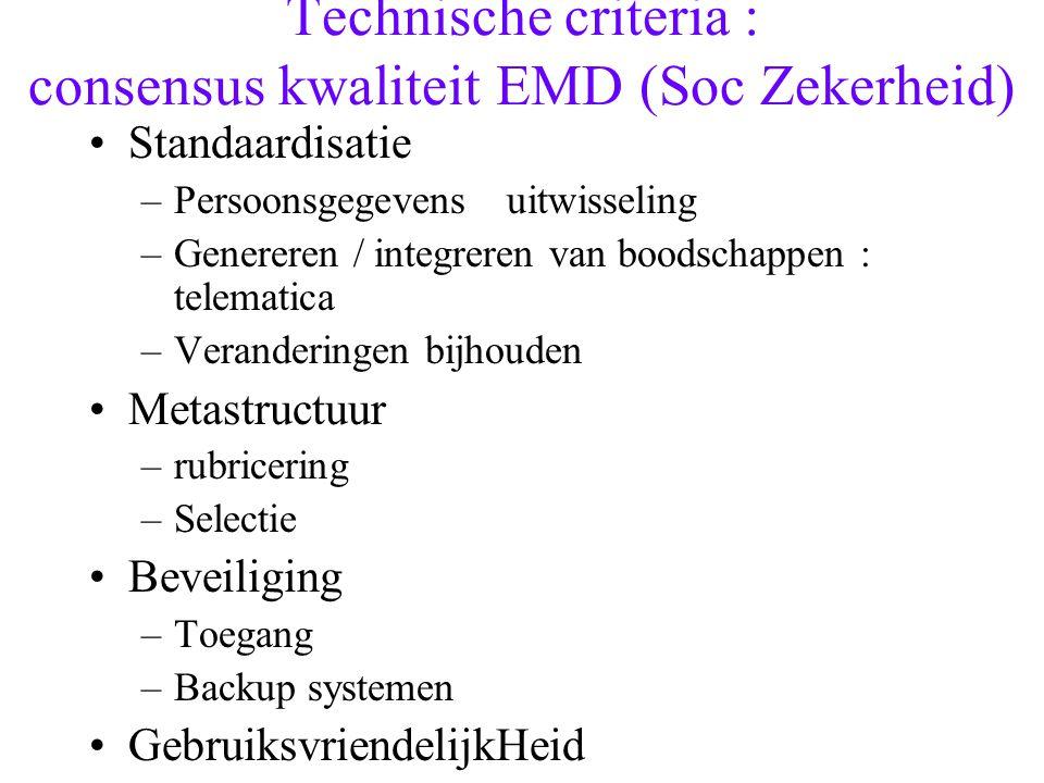 Technische criteria : consensus kwaliteit EMD (Soc Zekerheid)