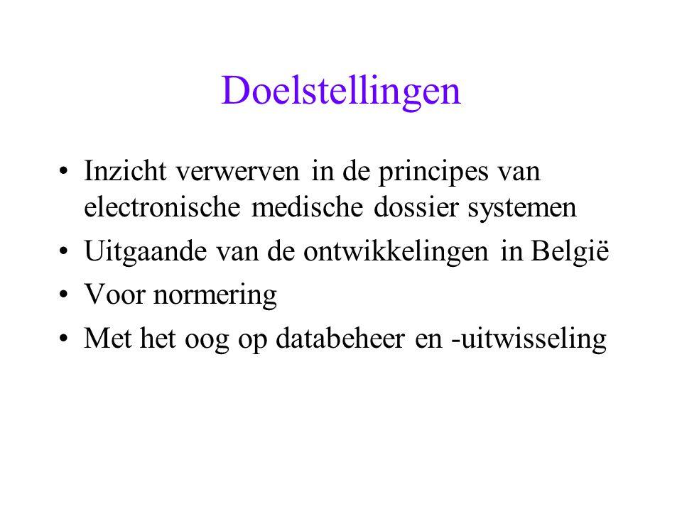 Doelstellingen Inzicht verwerven in de principes van electronische medische dossier systemen. Uitgaande van de ontwikkelingen in België.