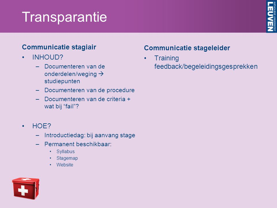 Transparantie Communicatie stagiair Communicatie stageleider INHOUD