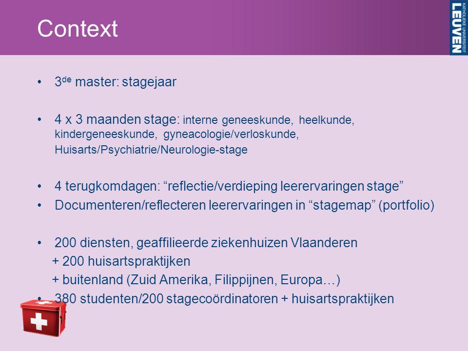 Context 3de master: stagejaar