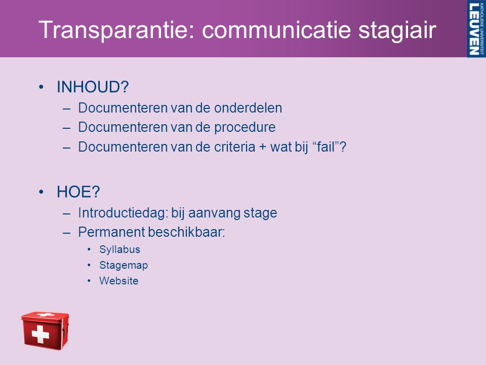 Transparantie: communicatie stagiair