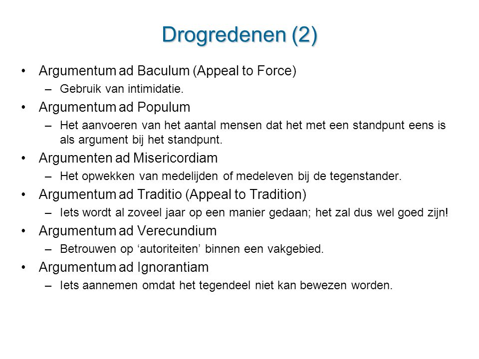 Drogredenen (2) Argumentum ad Baculum (Appeal to Force)