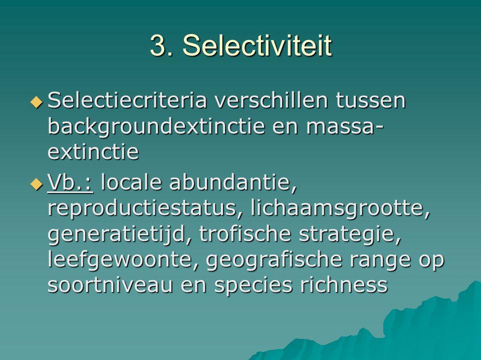 3. Selectiviteit Selectiecriteria verschillen tussen backgroundextinctie en massa-extinctie.