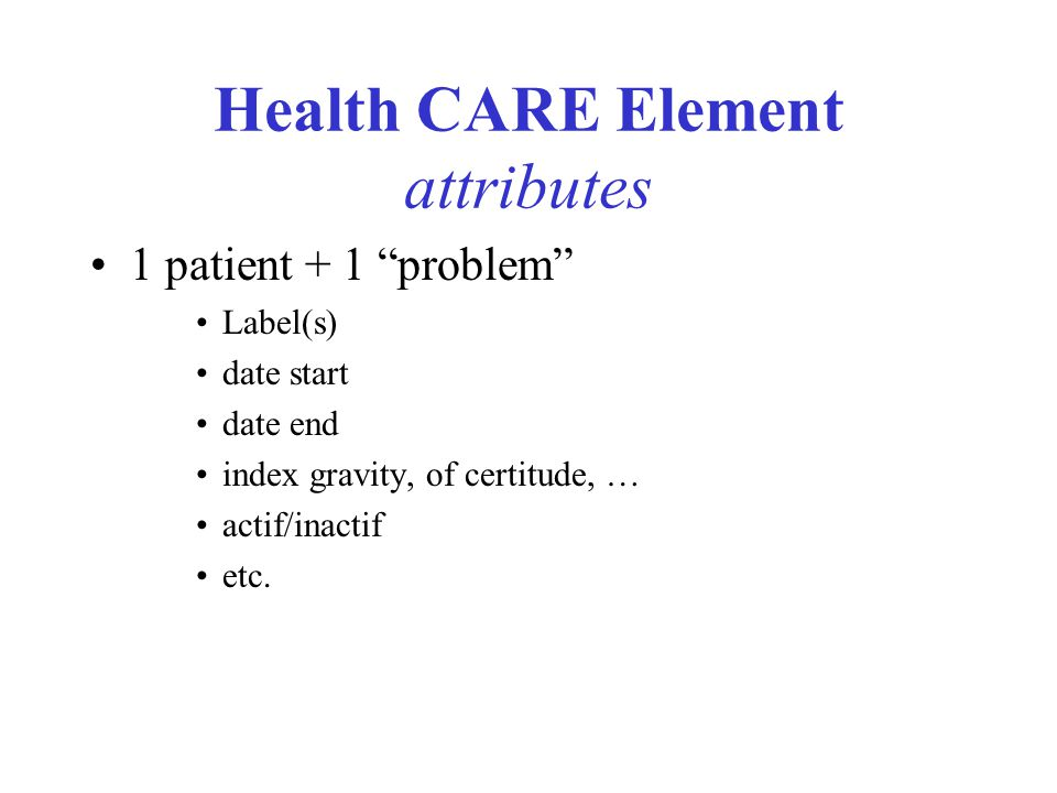 Health CARE Element attributes