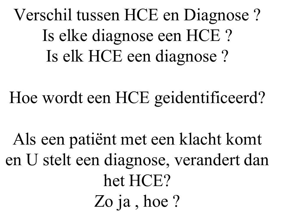 Verschil tussen HCE en Diagnose. Is elke diagnose een HCE