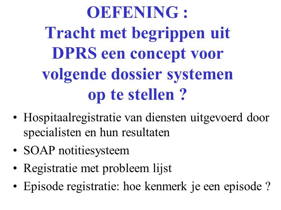 OEFENING : Tracht met begrippen uit DPRS een concept voor volgende dossier systemen op te stellen