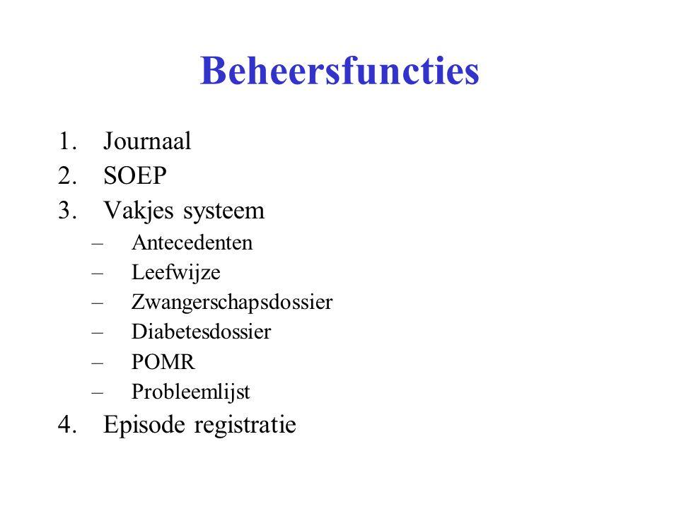 Beheersfuncties Journaal SOEP Vakjes systeem Episode registratie