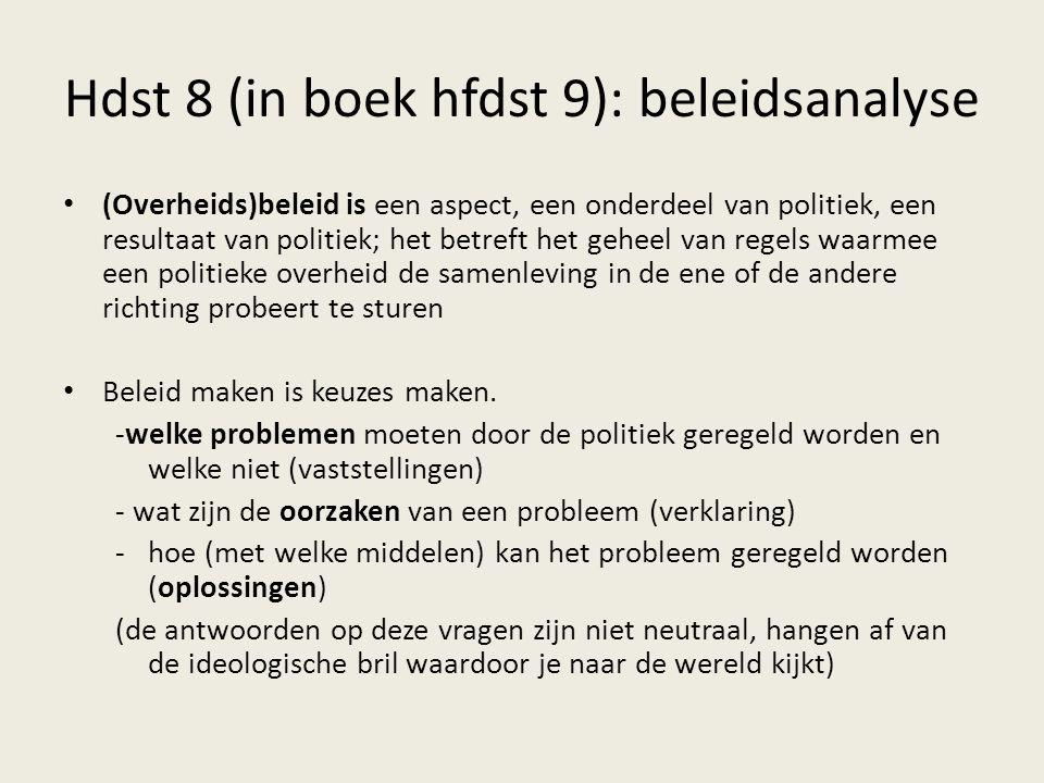 Hdst 8 (in boek hfdst 9): beleidsanalyse