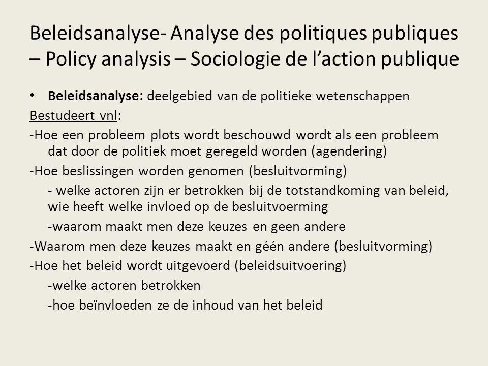 Beleidsanalyse- Analyse des politiques publiques – Policy analysis – Sociologie de l'action publique