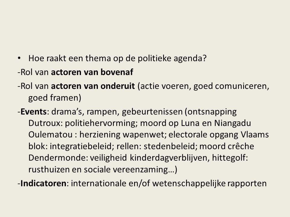 Hoe raakt een thema op de politieke agenda