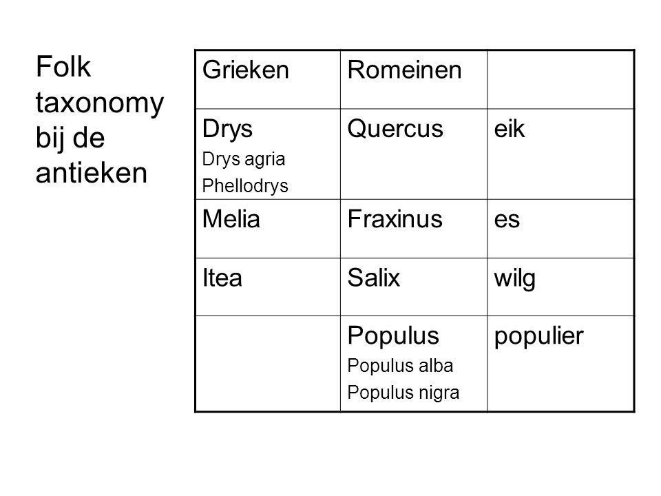 Folk taxonomy bij de antieken Grieken Romeinen Drys Quercus eik Melia