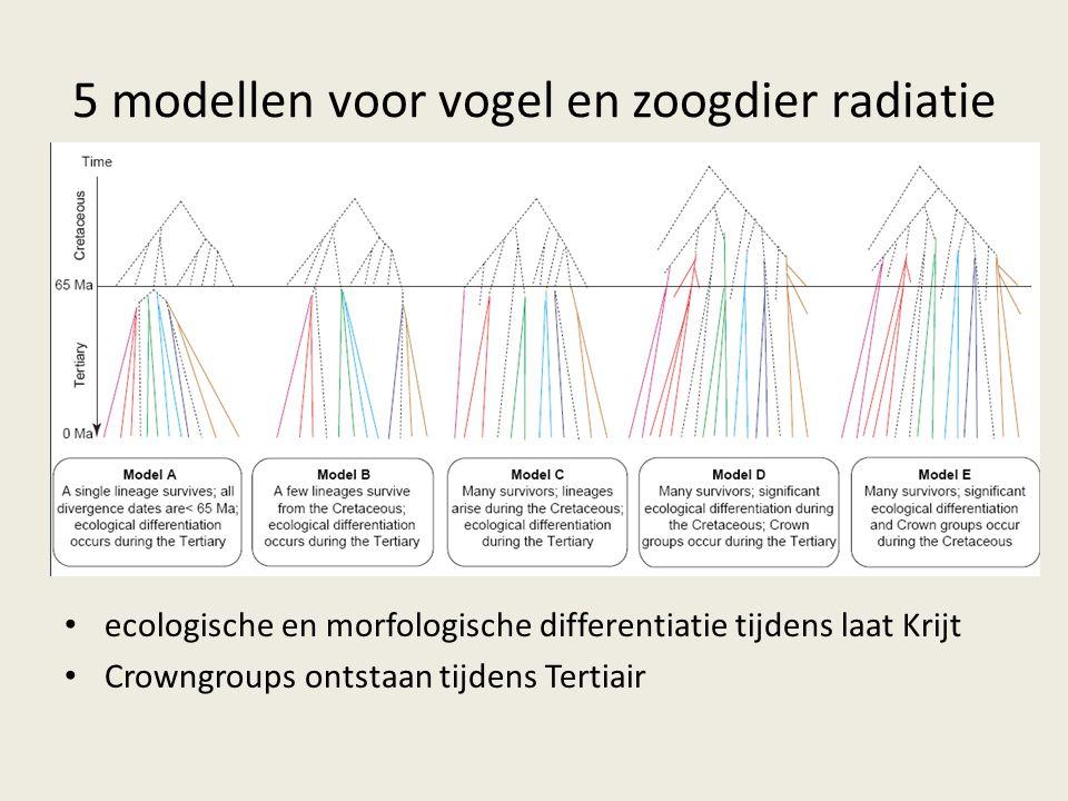 5 modellen voor vogel en zoogdier radiatie