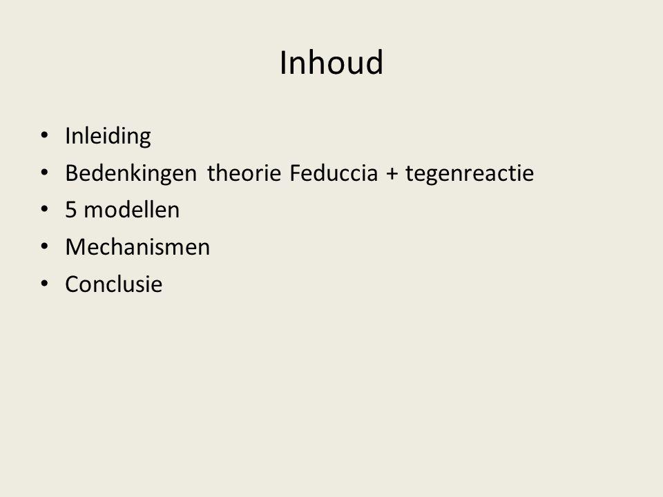 Inhoud Inleiding Bedenkingen theorie Feduccia + tegenreactie