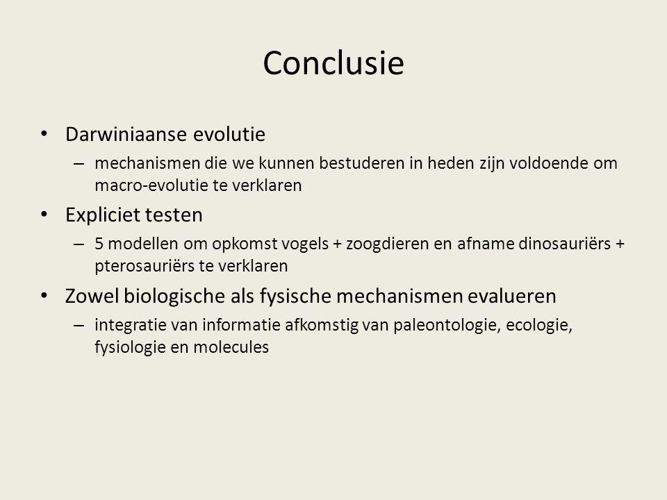 Conclusie Darwiniaanse evolutie Expliciet testen