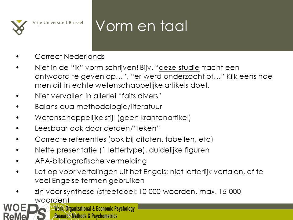 Vorm en taal Correct Nederlands