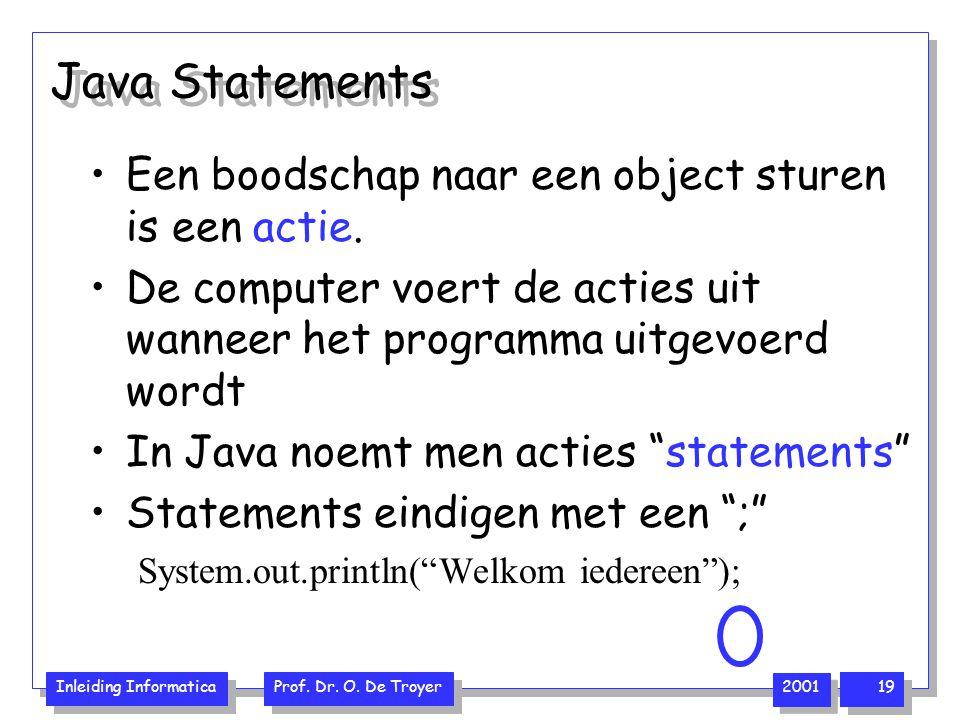 Java Statements Een boodschap naar een object sturen is een actie.