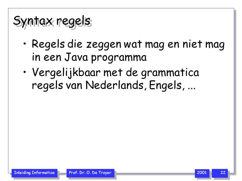 Syntax regels Regels die zeggen wat mag en niet mag in een Java programma.