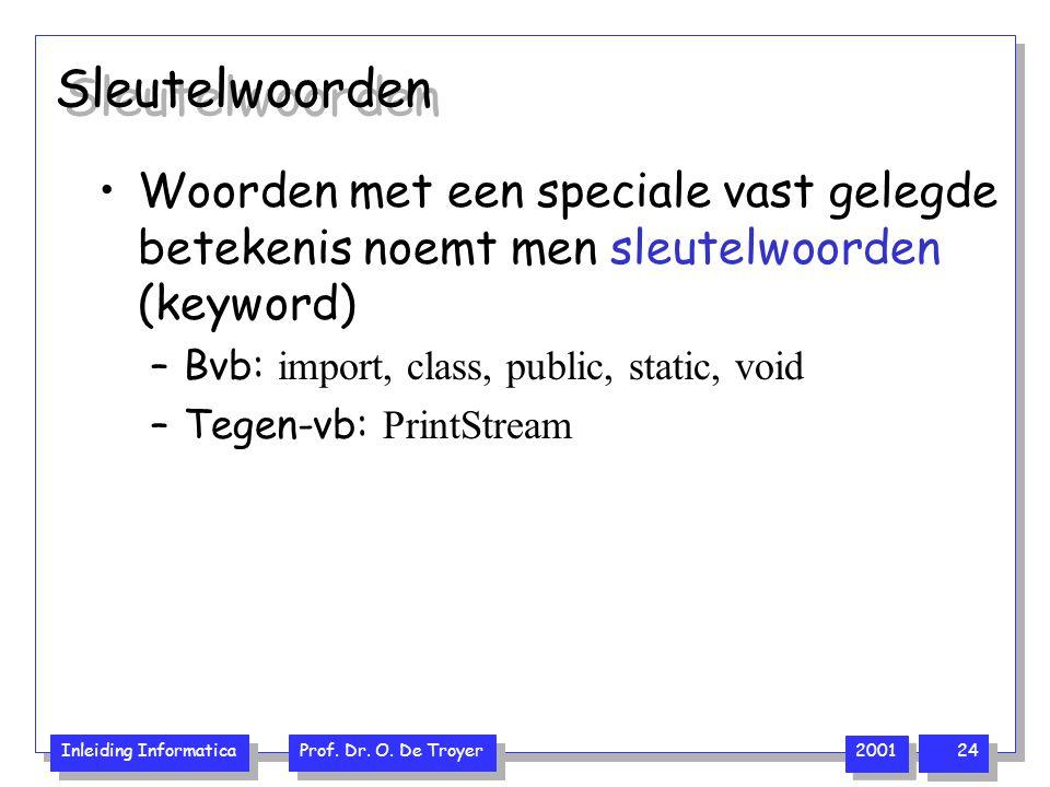 Sleutelwoorden Woorden met een speciale vast gelegde betekenis noemt men sleutelwoorden (keyword) Bvb: import, class, public, static, void.