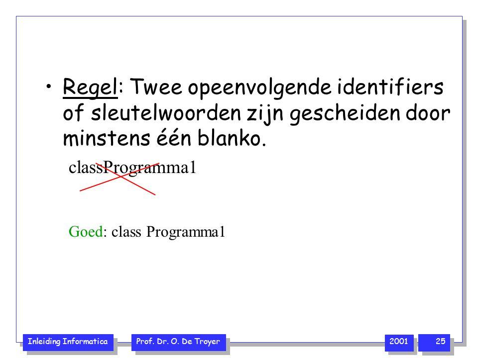 Regel: Twee opeenvolgende identifiers of sleutelwoorden zijn gescheiden door minstens één blanko.