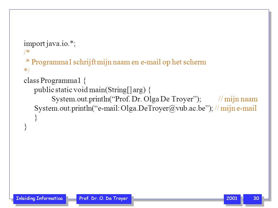 import java.io.*; /* * Programma1 schrijft mijn naam en e-mail op het scherm. */ class Programma1 {