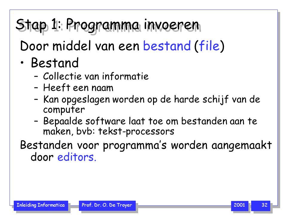 Stap 1: Programma invoeren