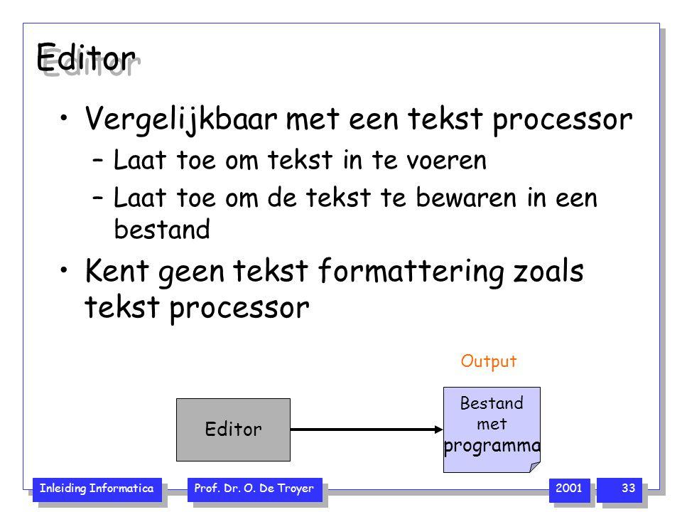 Editor Vergelijkbaar met een tekst processor