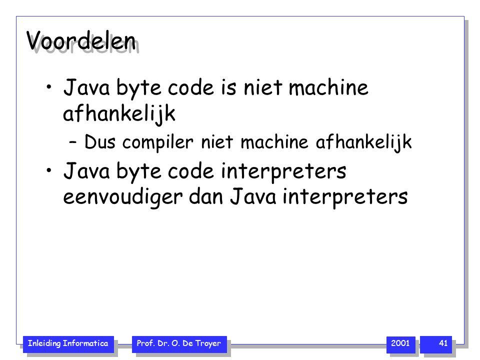 Voordelen Java byte code is niet machine afhankelijk