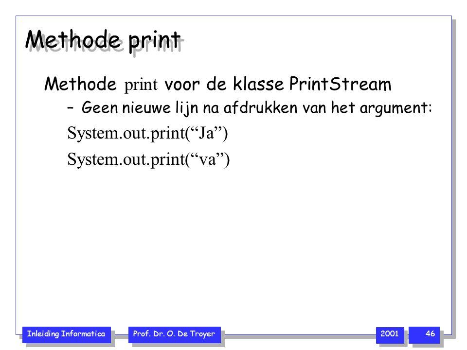 Methode print Methode print voor de klasse PrintStream