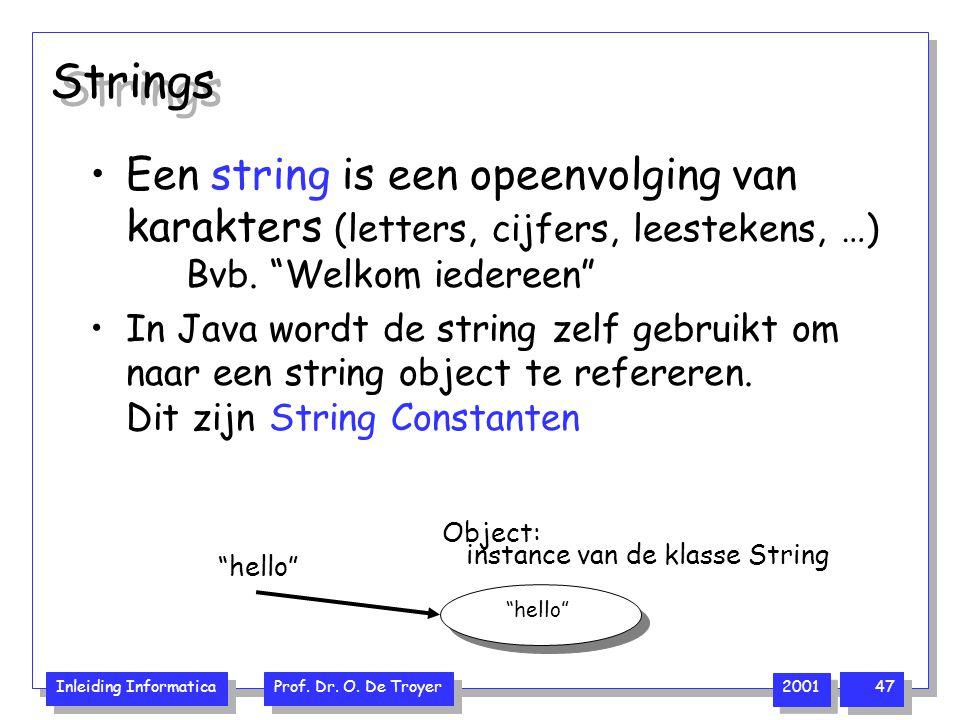 Strings Een string is een opeenvolging van karakters (letters, cijfers, leestekens, …) Bvb. Welkom iedereen