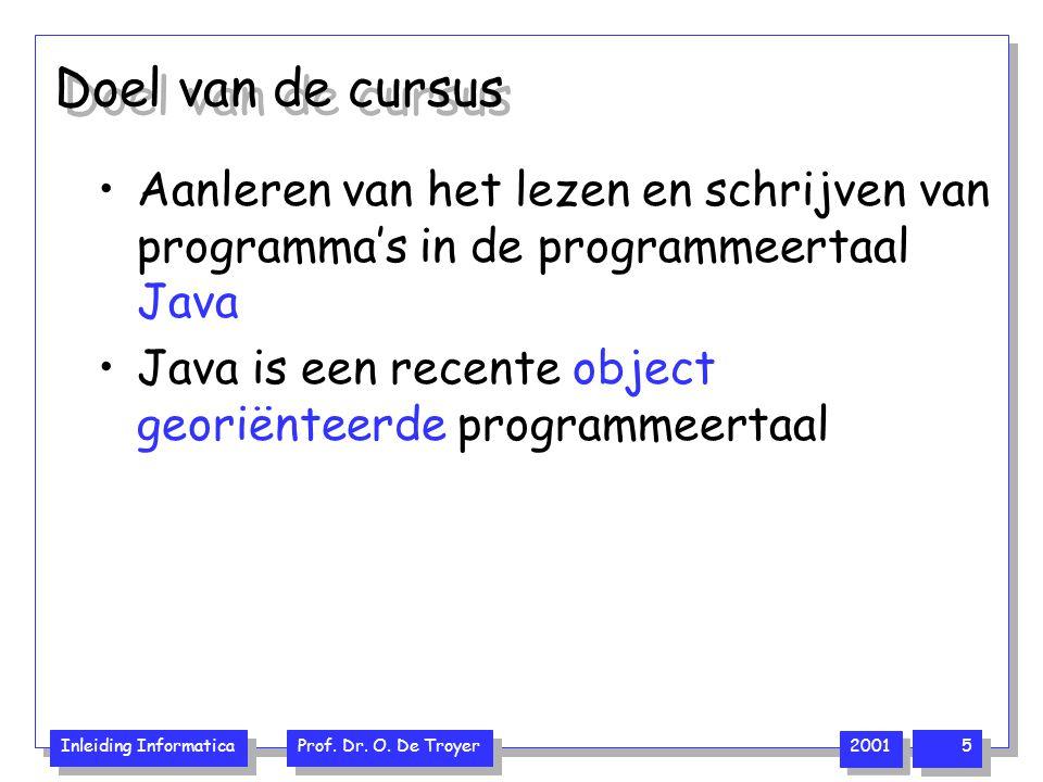 Doel van de cursus Aanleren van het lezen en schrijven van programma's in de programmeertaal Java.
