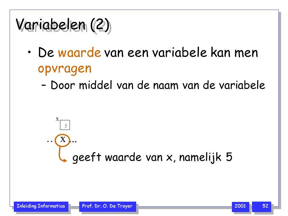 Variabelen (2) De waarde van een variabele kan men opvragen